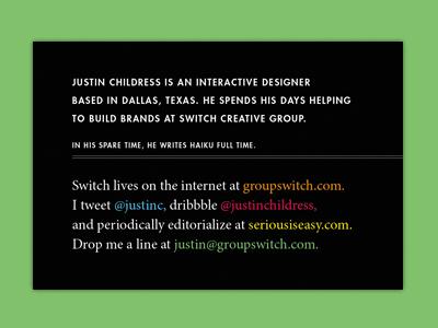 SXSW card front print typography copywriting business card sxsw