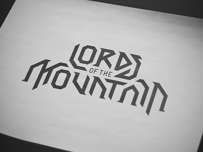 Lords of the Mountain (draft 1) logo music metal heavy heavy metal symphonic fantasy bold angular lord mountain strong geometric dwarf dwarven tolkien logotype