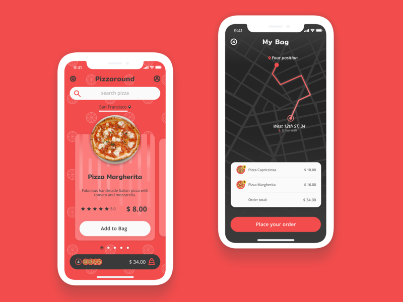 Pizzaround figma ui app design