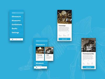 Dinosaurs Museums App sketch app uidesign design ui vector