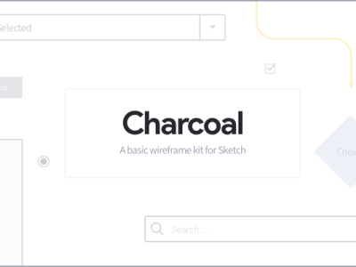 Charcoal sketch wireframe kit library ux wireframe