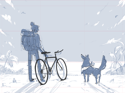 QUICK SKETCH design character nature bike beach dog rascunho sketch quick