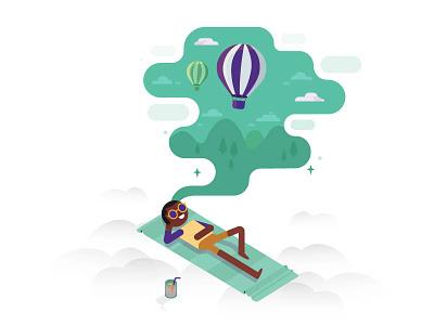 Relaxed boy beach youse illustration boy balloon