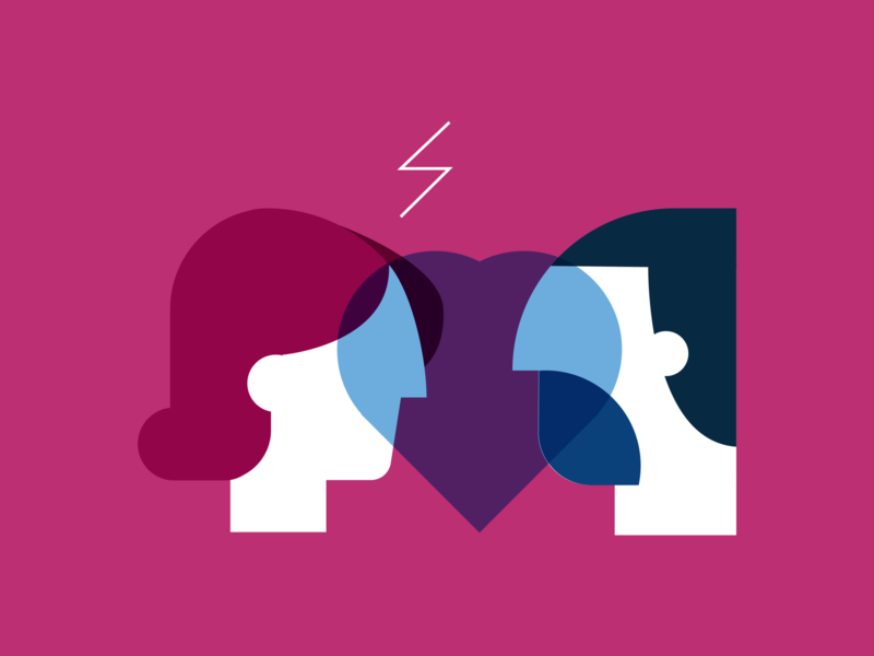Couple problems love couple woman minimalism illustration