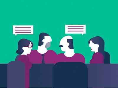Clavier Francophone dialogue office meeting men woman minimalist vector illustration
