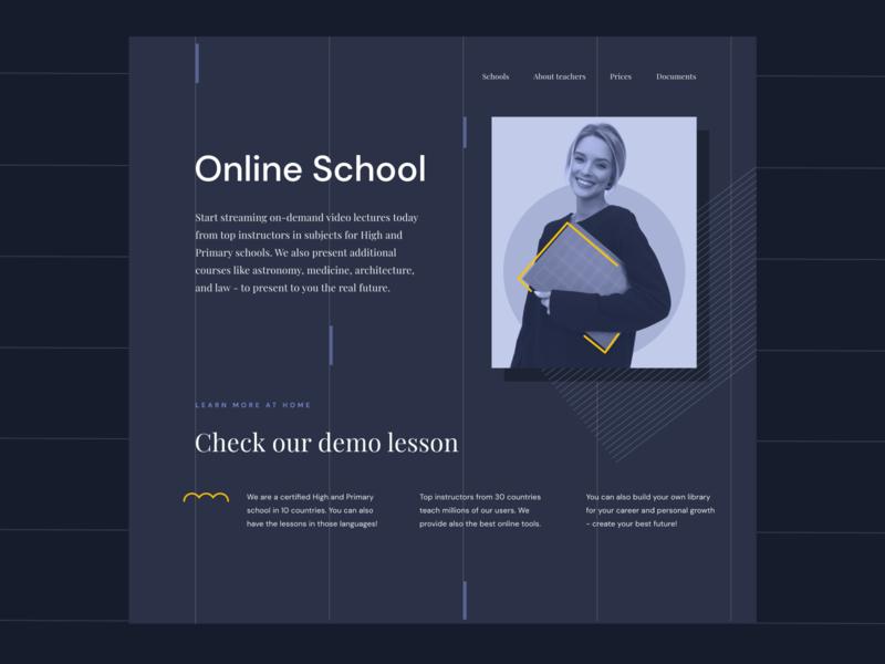 School Home Page 👀 www website uxui darkmode dark landingpage lines geometry home page