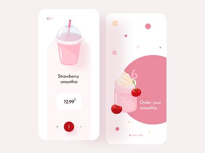 Smoothie app 🍓 mobile uiux product design uidesign ui uxui mockup ecommerce shop order android ios app