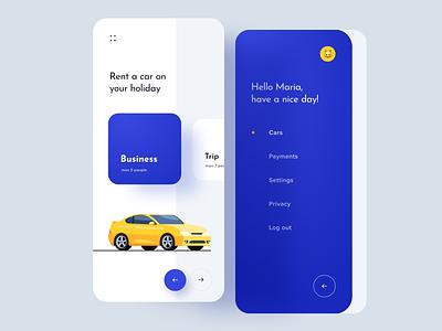 Rent a car uiux rent a car rent menu card box menu application ios app mobileapp mobile ios14 android ios uxui mockup
