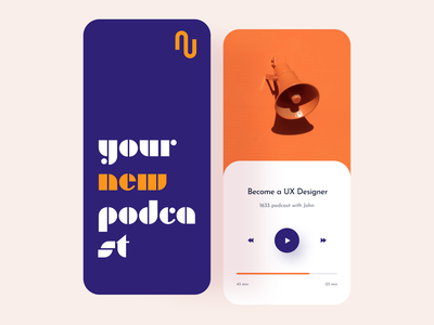 Podcast app design android mobile ios14 ios uxui mockup play video music podcast