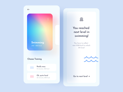 Swimming product design uidesign ui mockup boxes box art cards popup mobileapp mobile android ios14 iosapp ios app swimming pool