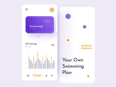 Swimming app tabs navigation mobile android ios14 ios ui mockup