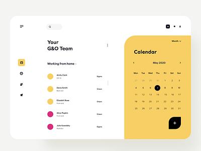 Team & Calendar calendar ui dekstop uidesign uxui mockup