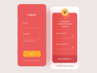 Log in page button change passeord password register log in mobile mobile android ios