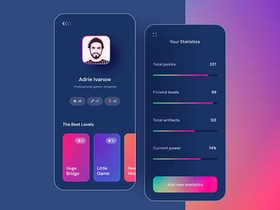 App for Gamers 🚀 ui uxui app design application apple android ios mobile user profile progressbar progress boxes darkmode dark app game art game