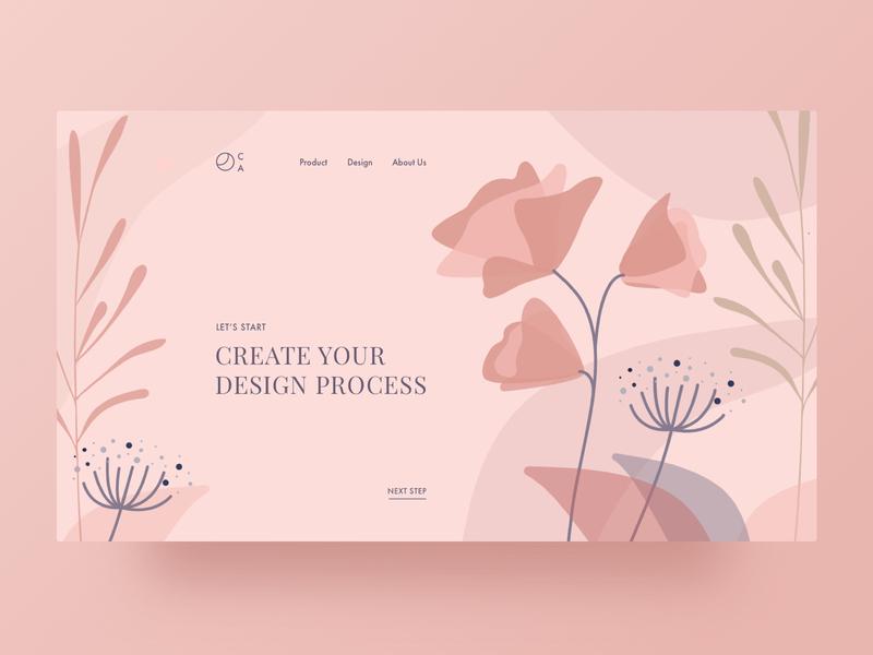 Design Process Creator illustraion rose pink flowers