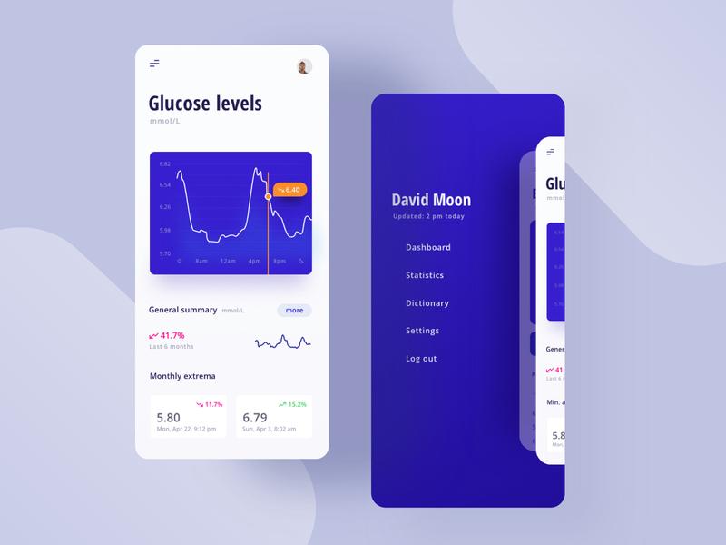 Health app menu app mobile health