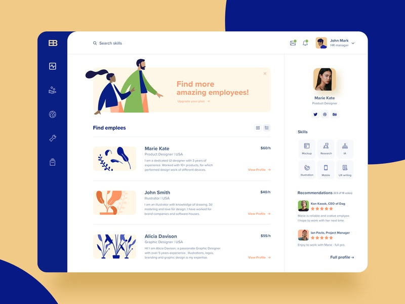 Hiring platform 🕵️♀️ flatdesign dashboard employee uidesign uiux desktop hiring
