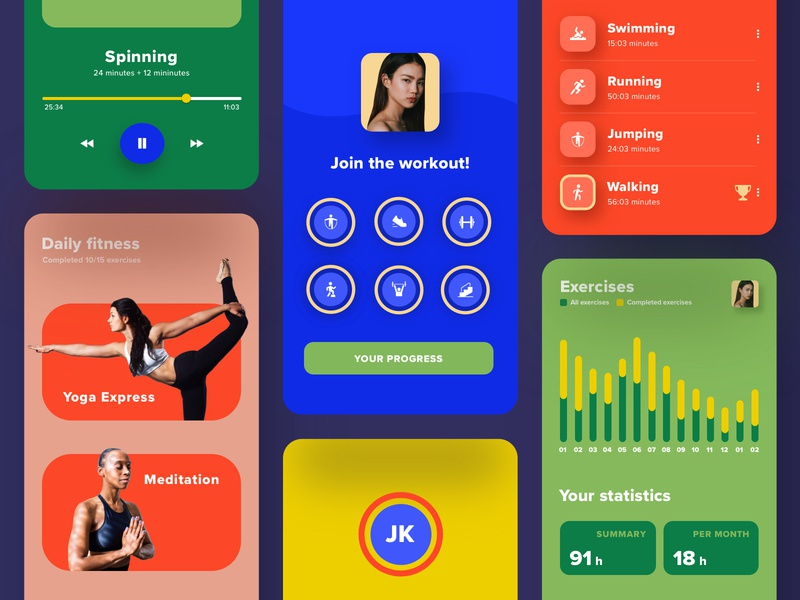 Fitness app 🏋️♀️ player category statistics workout ui uiux colors uidesign application app fitness app fitness