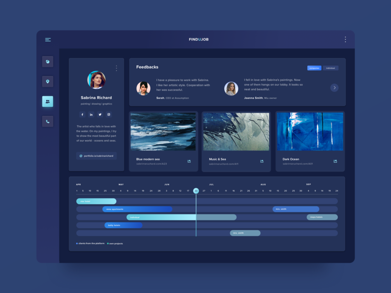 Job offers platform! timeline schedule graph calendar reviews user profile user website computer desktop interface ui ux ui ux mockup product design