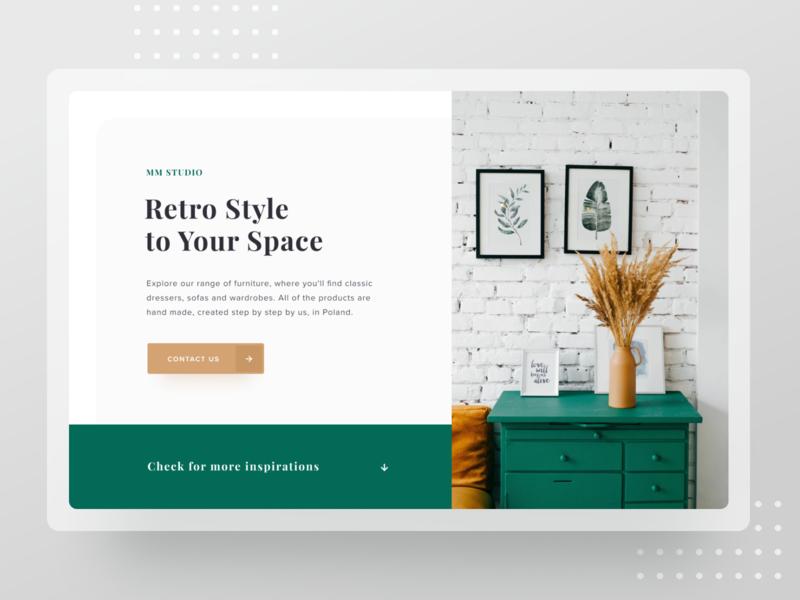 Retro e-commerce 🛋 uxuidesign webdesign web desktop mockup uxui design homepage ecommerce shop uxui ecommerce
