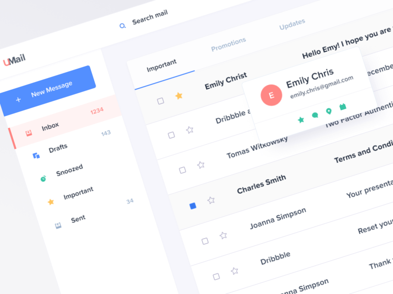 Mail Concept 📩 mail box product design uxui desktop mockup dashboard inbox gmail mail