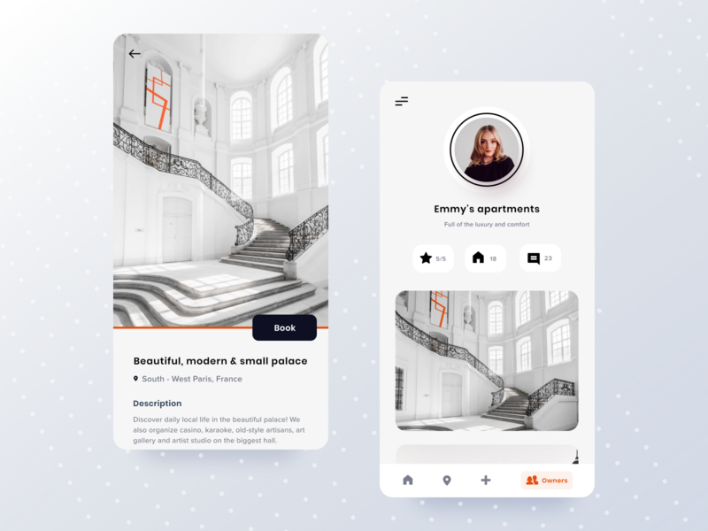 Mobile app to rent the flat user profile profile booking app booking uxui mockup application mobileapp app mobile