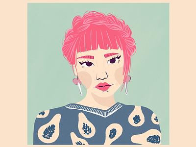 Pink Crown Braid - Asian Girl - Illustrative Portrait female gentle lovely pretty girl fashion illustration wywliner pink hair girl