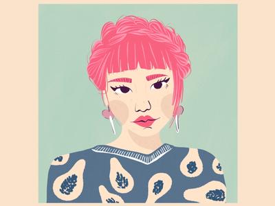 Pink Crown Braid - Asian Girl - Illustrative Portrait
