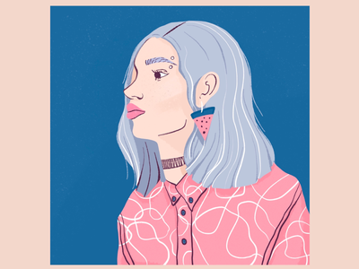 Silver hair girl wearing a pink shirt