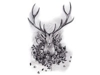 Deer and Roses in Black and White