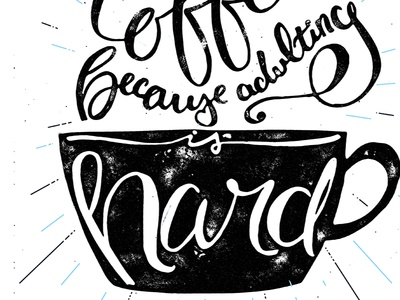 coffee brush lettering art close up
