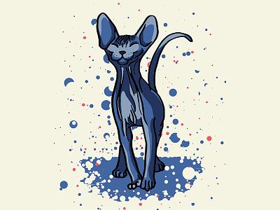 Happy Sphynx Kitten animal drawing big ears alien weird cat creepy kitty wrinkly cat cat illustration naked cat sphynx cat