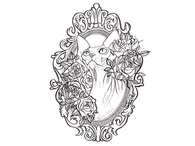 Sphynx&Roses - Line Drawing black and white kitty roses animal portrait ornamental frame hairless cat cat sphynx cat sphynx