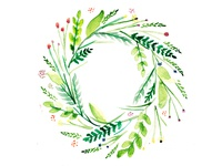 Wreath of Flowers - Watercolor Illustration
