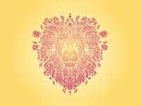 Lion Mandala - Orange and Red