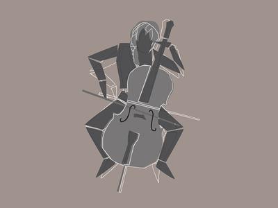 Cellist Mannequin Illustration