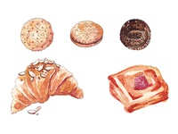Pastry Watercolor Illustrations