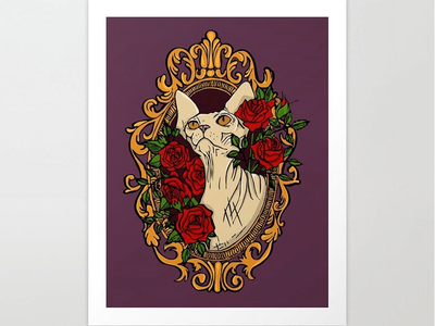 Sphynx cat in baroque frame with red roses - illustration