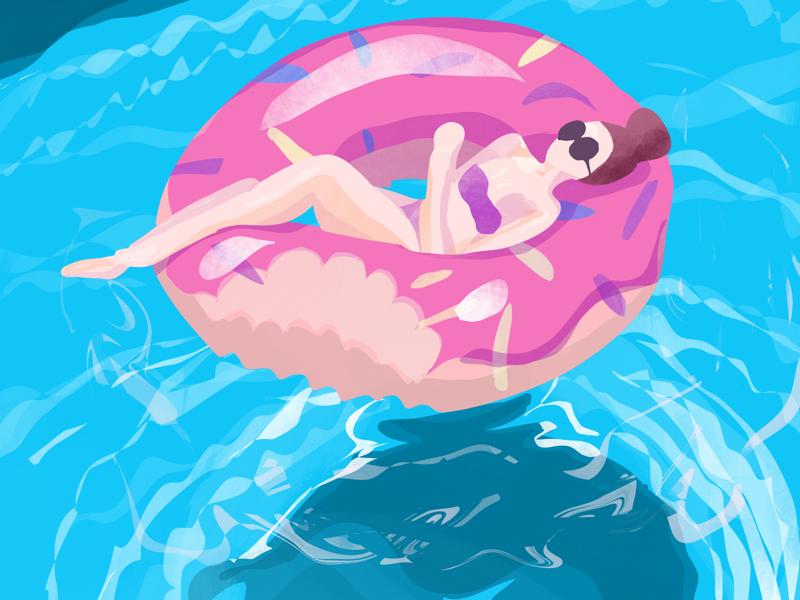 Chilling in the pool procreate sunglasses tanning sunbathing girl doughnut floatie pool illustration summer water digital