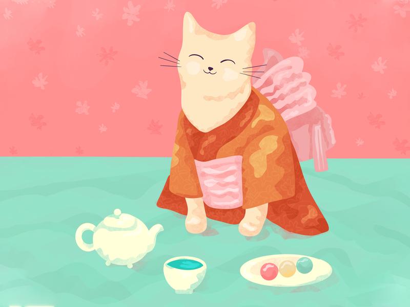 Cute Cat in a Kimono Enjoying Matcha and Dango smiling tea flat detailed texture cute sweet adorable kitty digital illustration illustration cuisine japanese dango matcha kimono cat