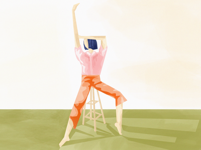 Girl stretching on a tall stool