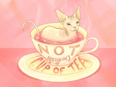 Not everyone's cup of tea - Sphynx Cat Illustration