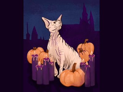Sphynx Cat with Pumpkins and Candles - Halloween