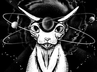 Cosmic Sphynx Cat - Inktober Prompt Day 2 - mindless