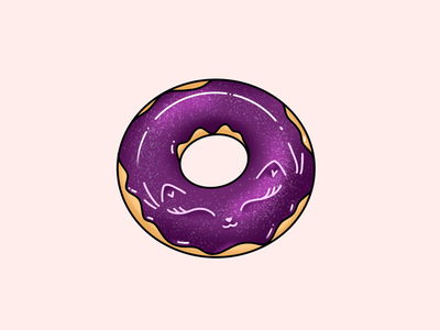 Galaxy cat doughnut adorable cute food kitty shiny digital illustration dessert food illustration glittery doughnut glitter doughnut galaxy doughnut kawaii