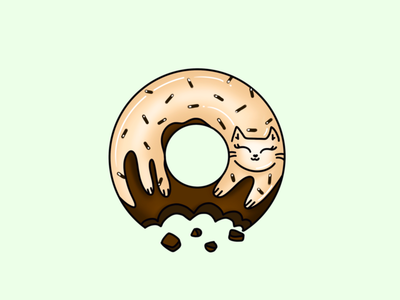 Chocolate Cat Doughnut with Vanilla Icing