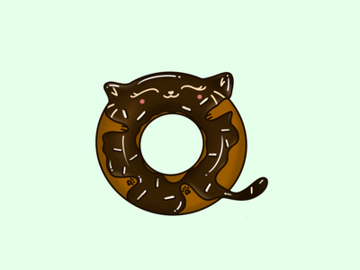 Chocolate Kitty Doughnut with Sprinkles