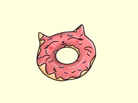 Pink Kitty Doughnut with Sprinkles