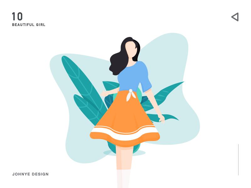 Beautiful girl hairstyle legs socks ten woman shirt leaf vector white green 2d icon ui orange skirt plant grass blue web illustration