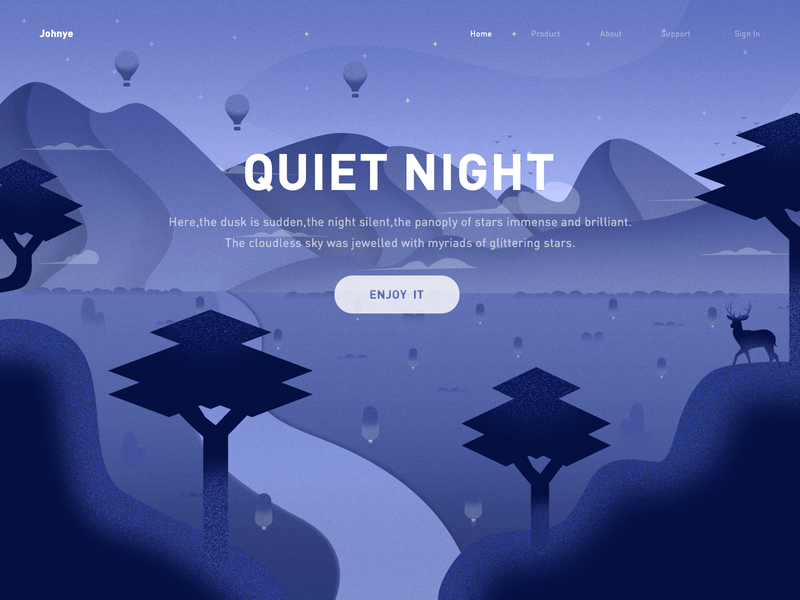 Quiet Night sky star deer cloud tree mountain website ui blue night design web illustration